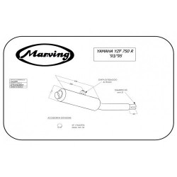 TERMINALE SCARICO SILENZIATORE YAMAHA YZF 750 R 1993 1995 MARVING